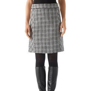 WHBM Boucle Black White Gray Tweed Pencil Skirt 6